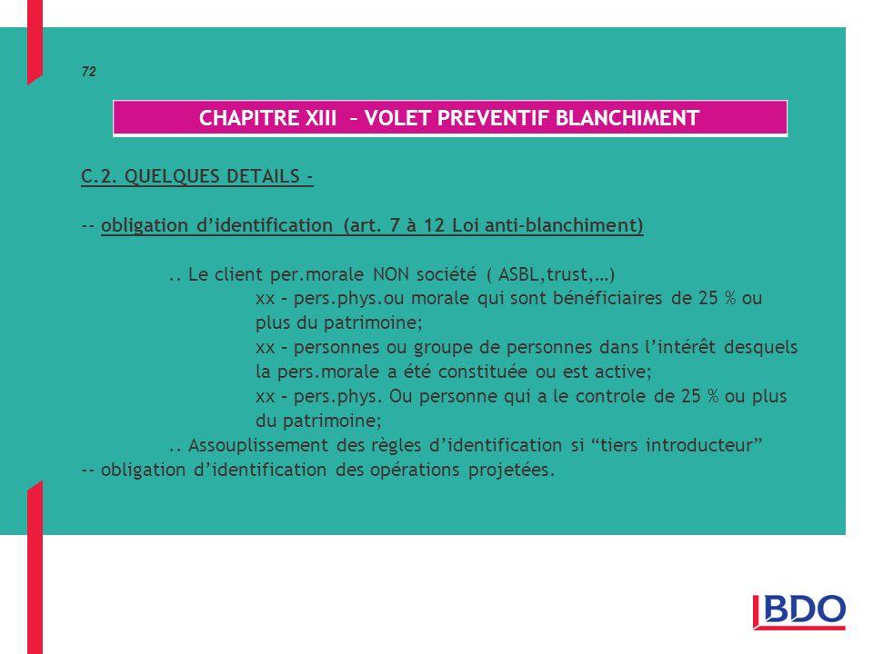 72 C.2.QUELQUES DETAILS - -- obligation didentification (art.