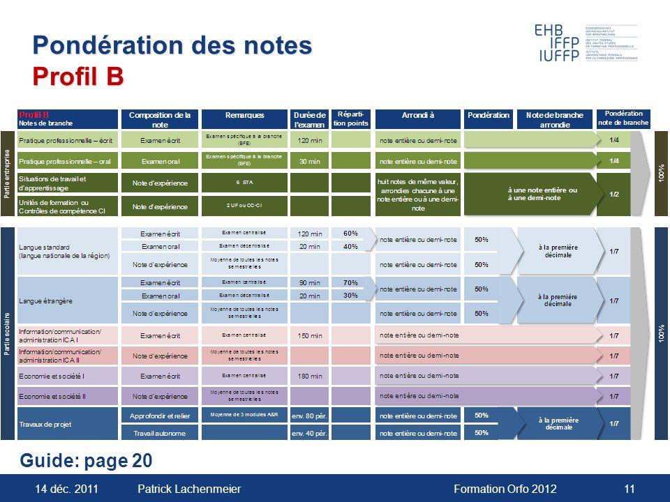 14 déc. 2011Formation Orfo 201211Patrick Lachenmeier Pondération des notes Profil B Guide: page 20