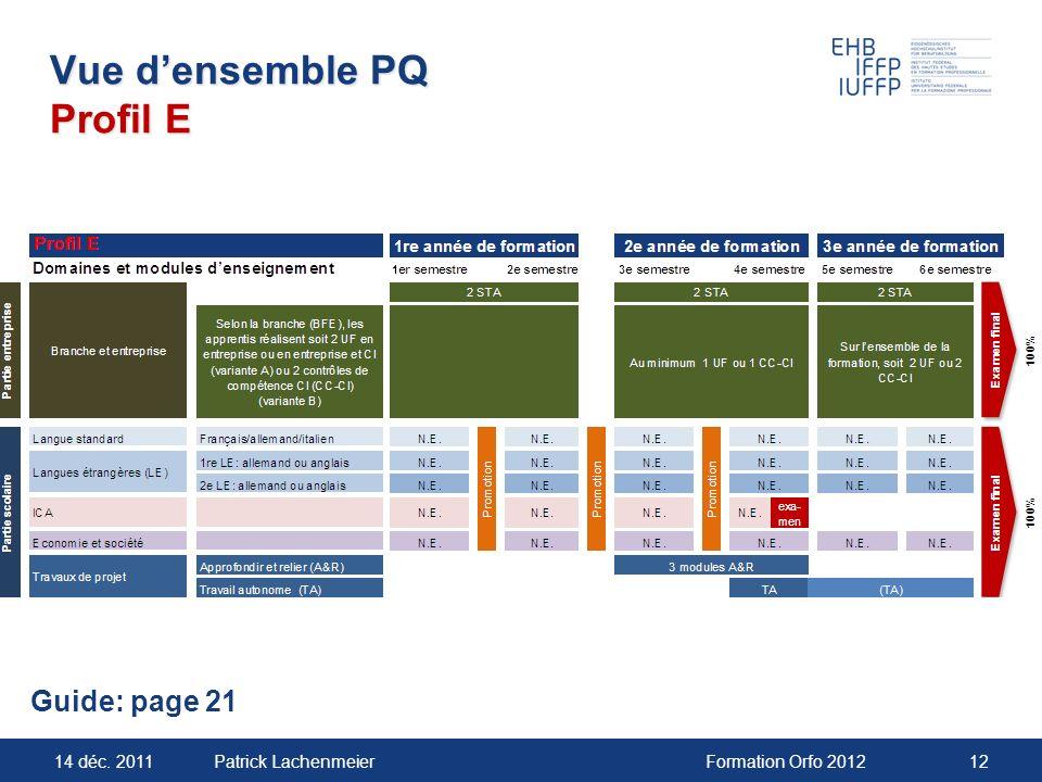 14 déc. 2011Formation Orfo 201212Patrick Lachenmeier Vue densemble PQ Profil E Guide: page 21