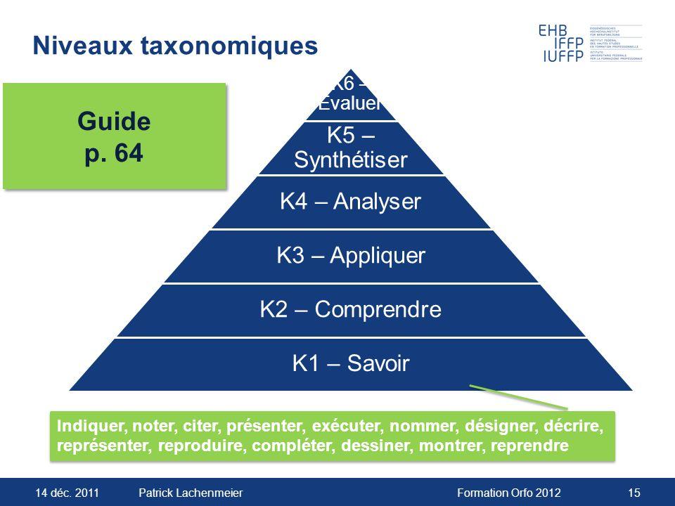 14 déc. 2011Formation Orfo 201215Patrick Lachenmeier Niveaux taxonomiques Guide p. 64 Guide p. 64 Indiquer, noter, citer, présenter, exécuter, nommer,