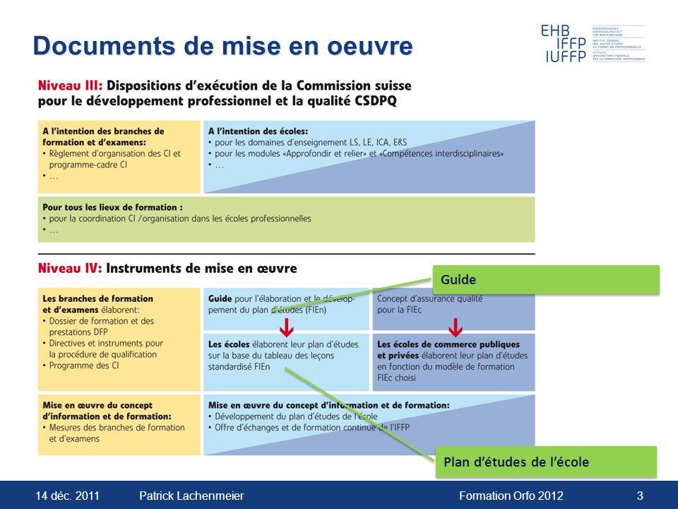 14 déc. 2011Formation Orfo 20123Patrick Lachenmeier Documents de mise en oeuvre Plan détudes de lécole Guide