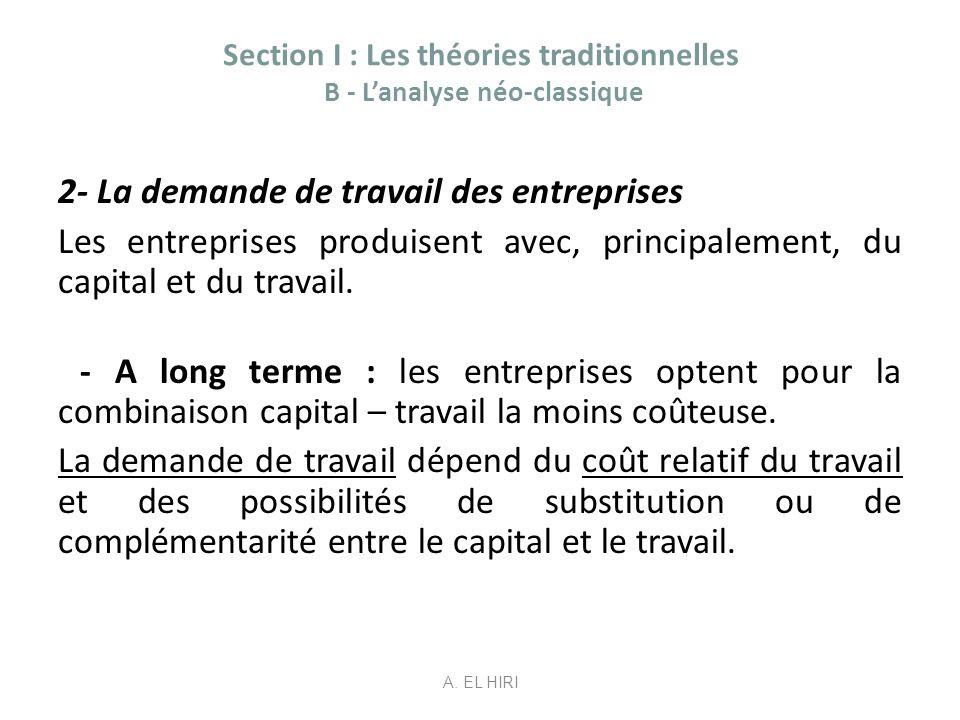 Section I : Les théories traditionnelles B - Lanalyse néo-classique 2- La demande de travail des entreprises Les entreprises produisent avec, principa