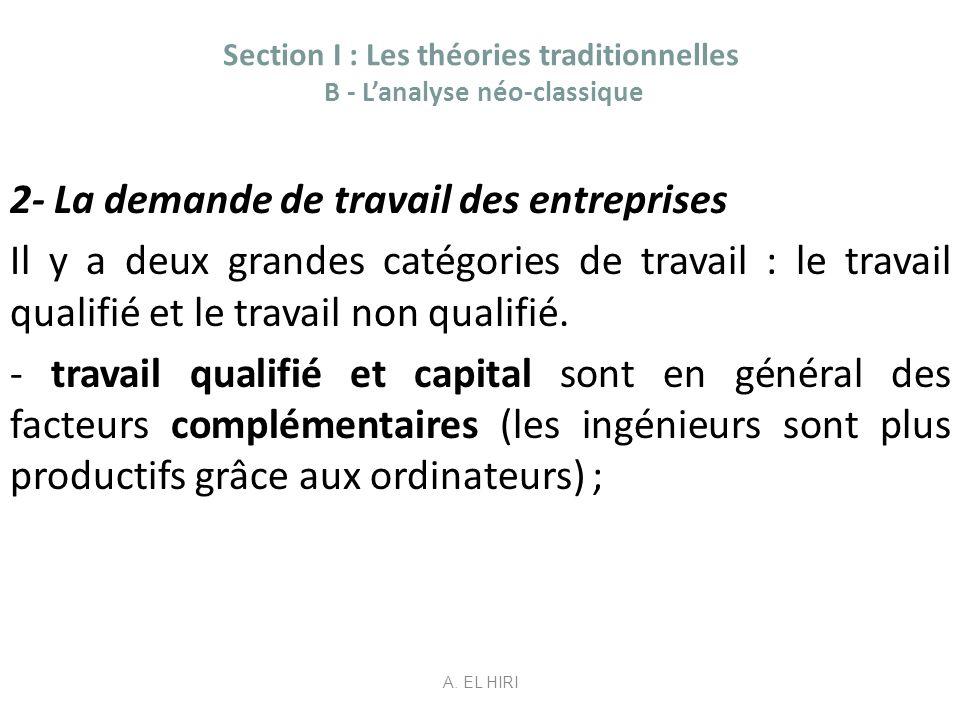 Section I : Les théories traditionnelles B - Lanalyse néo-classique 2- La demande de travail des entreprises Il y a deux grandes catégories de travail