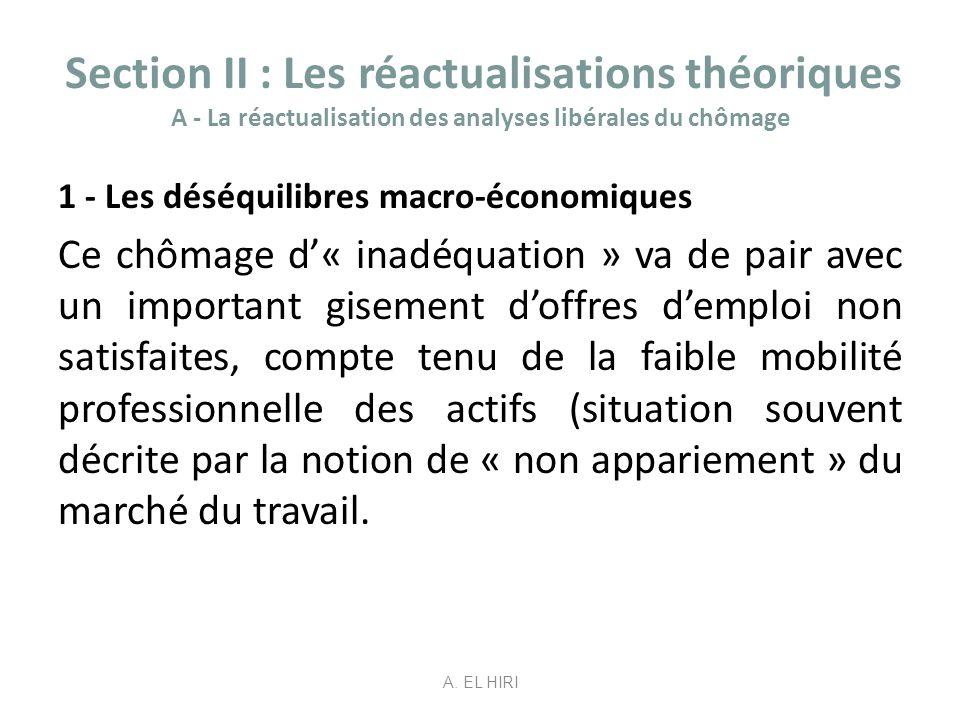 Section II : Les réactualisations théoriques A - La réactualisation des analyses libérales du chômage 1 - Les déséquilibres macro-économiques Ce chôma