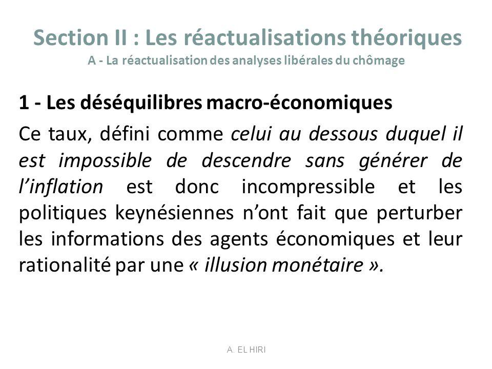 Section II : Les réactualisations théoriques A - La réactualisation des analyses libérales du chômage 1 - Les déséquilibres macro-économiques Ce taux,