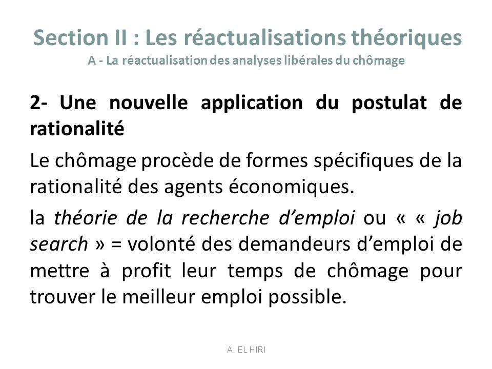 Section II : Les réactualisations théoriques A - La réactualisation des analyses libérales du chômage 2- Une nouvelle application du postulat de ratio