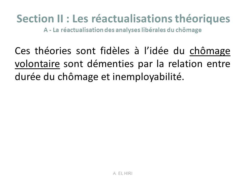 Section II : Les réactualisations théoriques A - La réactualisation des analyses libérales du chômage Ces théories sont fidèles à lidée du chômage vol