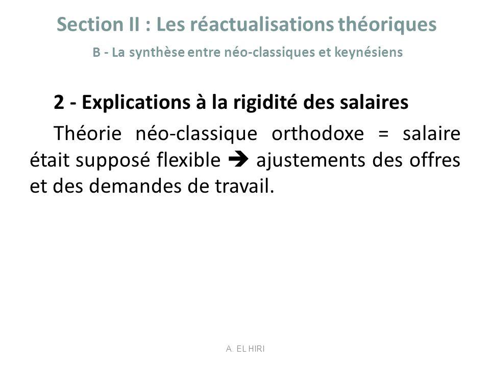 Section II : Les réactualisations théoriques B - La synthèse entre néo-classiques et keynésiens 2 - Explications à la rigidité des salaires Théorie né