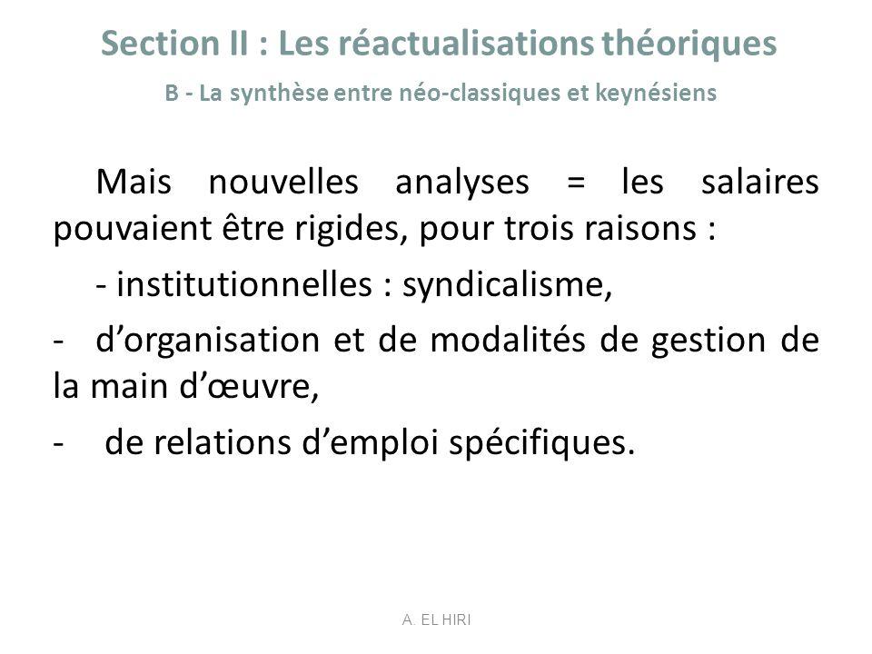 Section II : Les réactualisations théoriques B - La synthèse entre néo-classiques et keynésiens Mais nouvelles analyses = les salaires pouvaient être