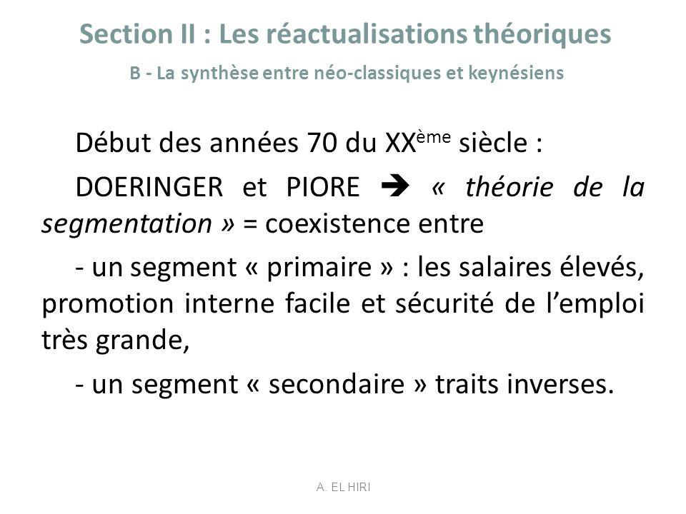 Section II : Les réactualisations théoriques B - La synthèse entre néo-classiques et keynésiens Début des années 70 du XX ème siècle : DOERINGER et PI