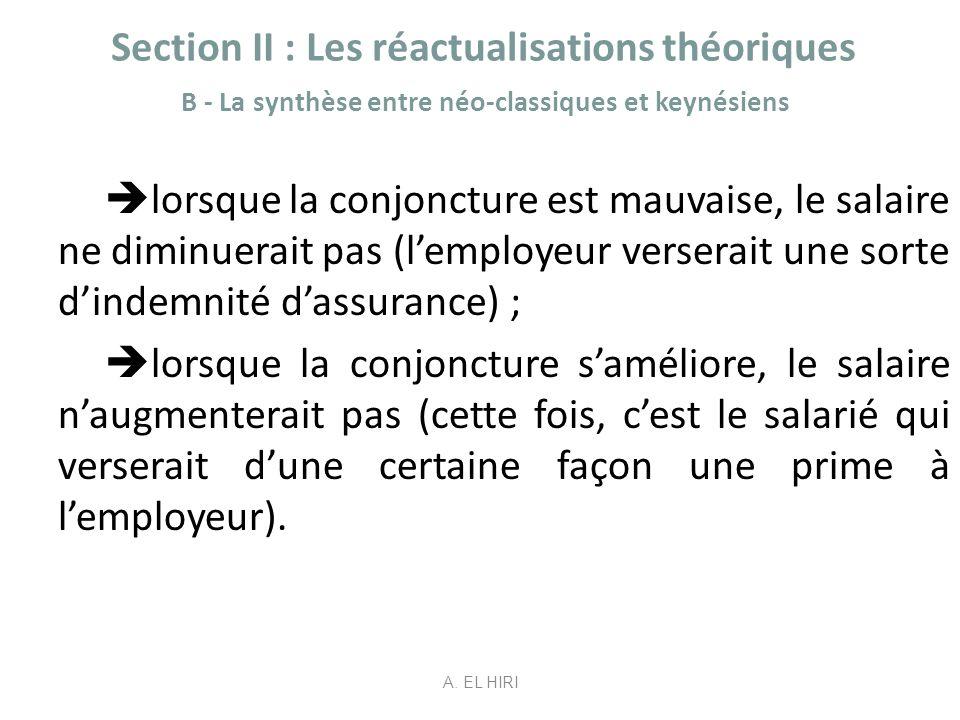 Section II : Les réactualisations théoriques B - La synthèse entre néo-classiques et keynésiens lorsque la conjoncture est mauvaise, le salaire ne dim
