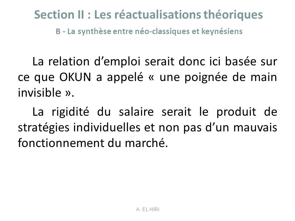 Section II : Les réactualisations théoriques B - La synthèse entre néo-classiques et keynésiens La relation demploi serait donc ici basée sur ce que O