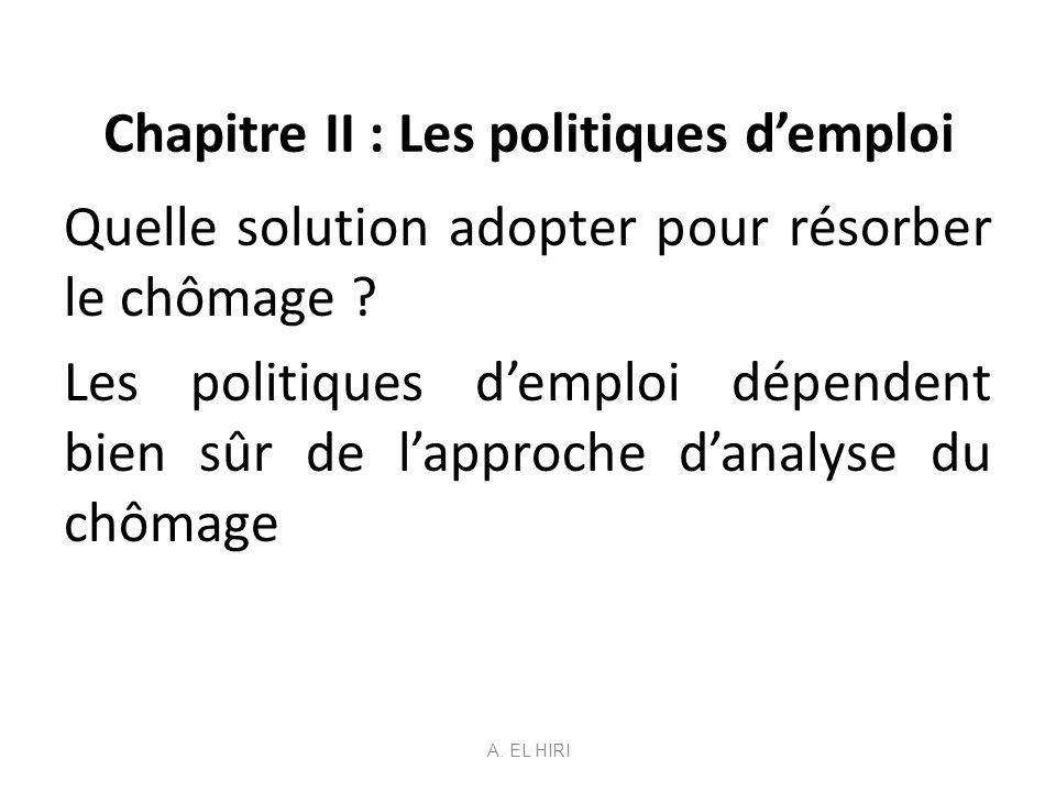 Chapitre II : Les politiques demploi Quelle solution adopter pour résorber le chômage ? Les politiques demploi dépendent bien sûr de lapproche danalys