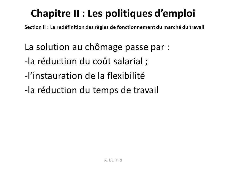Chapitre II : Les politiques demploi Section II : La redéfinition des règles de fonctionnement du marché du travail La solution au chômage passe par :