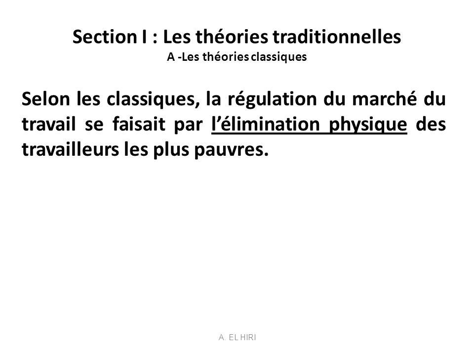Section I : Les théories traditionnelles B - Lanalyse néo-classique Impossibilité du chômage car il y a une régulation par le salaire.