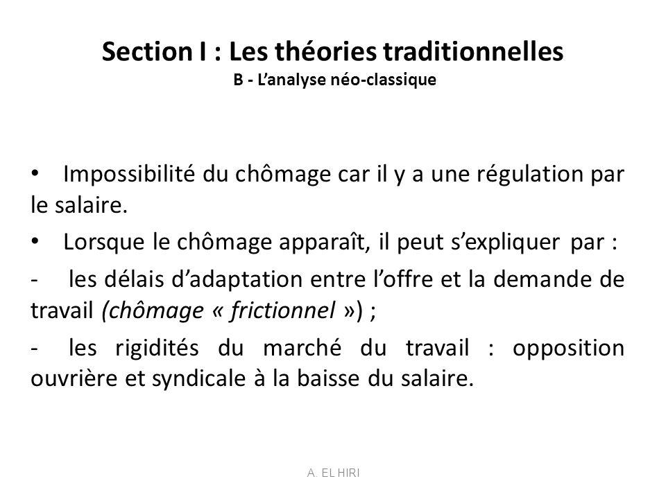 Section I : Les théories traditionnelles B - Lanalyse néo-classique Impossibilité du chômage car il y a une régulation par le salaire. Lorsque le chôm