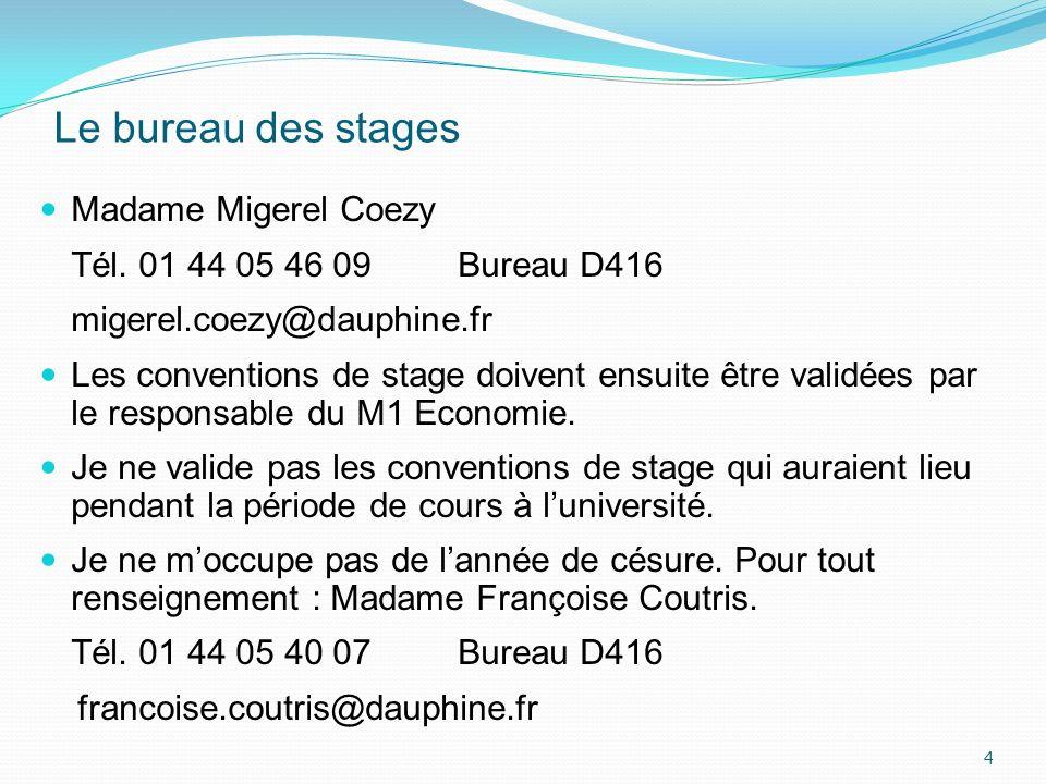 Le bureau des stages Madame Migerel Coezy Tél. 01 44 05 46 09 Bureau D416 migerel.coezy@dauphine.fr Les conventions de stage doivent ensuite être vali