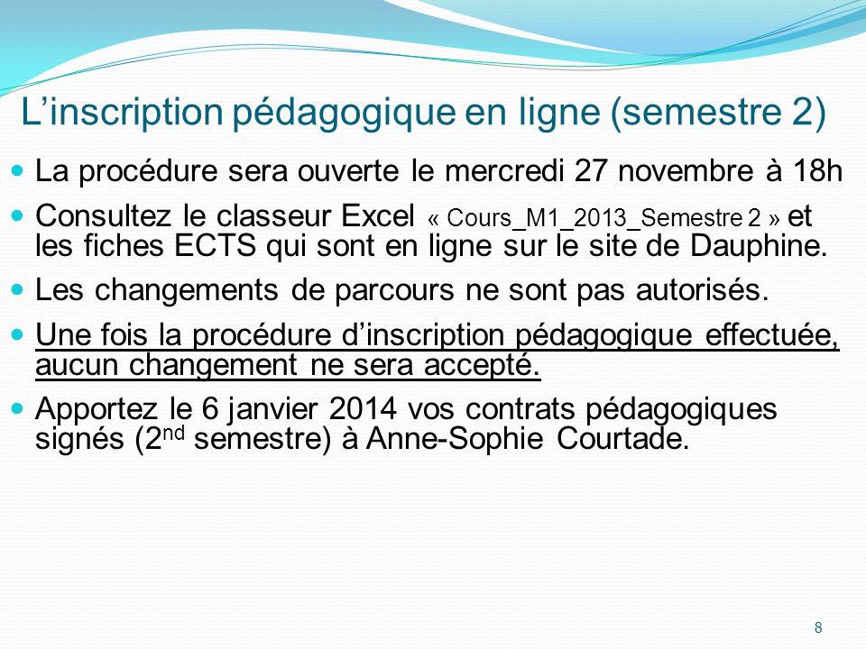 Linscription pédagogique en ligne (semestre 2) La procédure sera ouverte le mercredi 27 novembre à 18h Consultez le classeur Excel « Cours_M1_2013_Sem