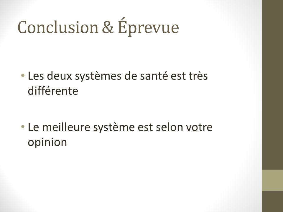 Conclusion & Éprevue Les deux systèmes de santé est très différente Le meilleure système est selon votre opinion
