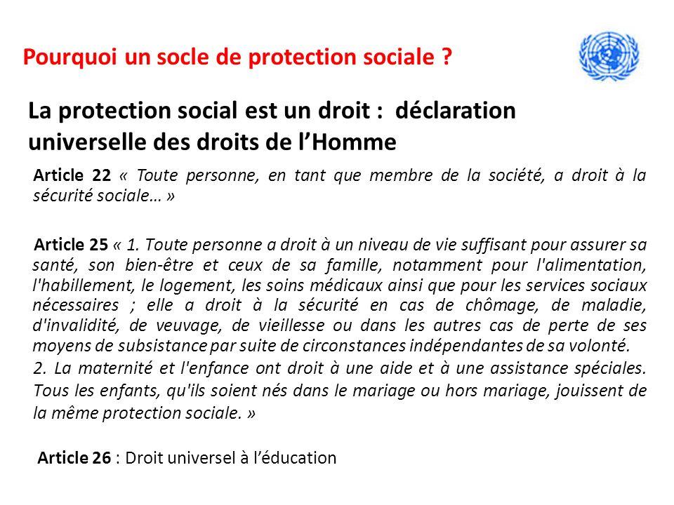 Article 22 « Toute personne, en tant que membre de la société, a droit à la sécurité sociale… » Article 25 « 1.