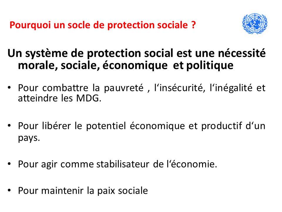Un système de protection social est une nécessité morale, sociale, économique et politique Pour combattre la pauvreté, linsécurité, linégalité et atteindre les MDG.