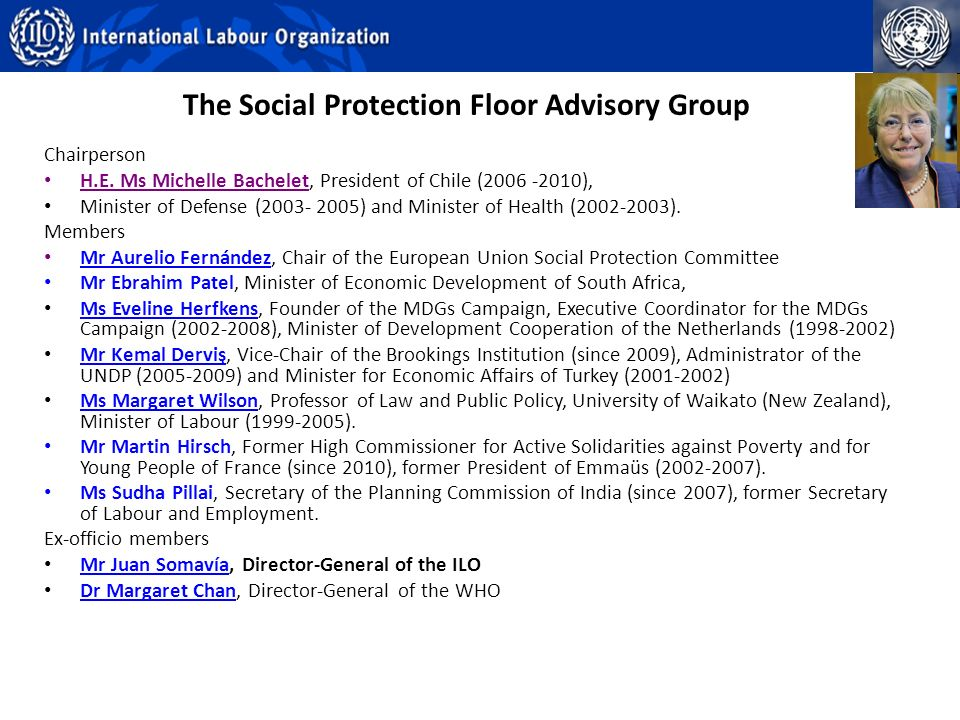 The Social Protection Floor Advisory Group Chairperson H.E.