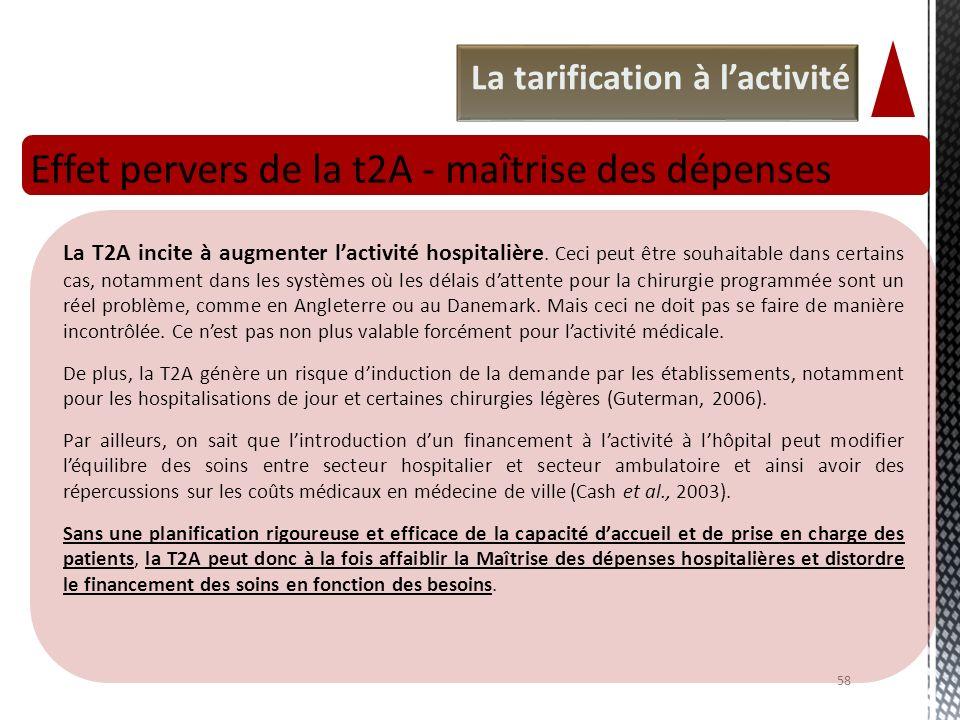 La tarification à lactivité Effet pervers de la t2A - maîtrise des dépenses 58 La T2A incite à augmenter lactivité hospitalière. Ceci peut être souhai
