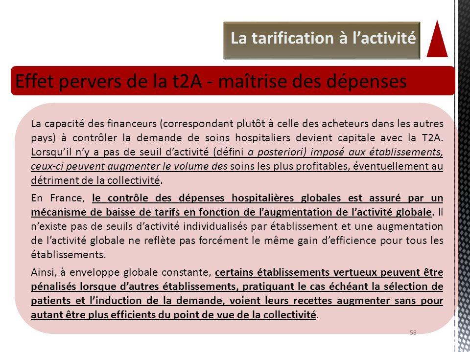 La tarification à lactivité Effet pervers de la t2A - maîtrise des dépenses 59 La capacité des financeurs (correspondant plutôt à celle des acheteurs