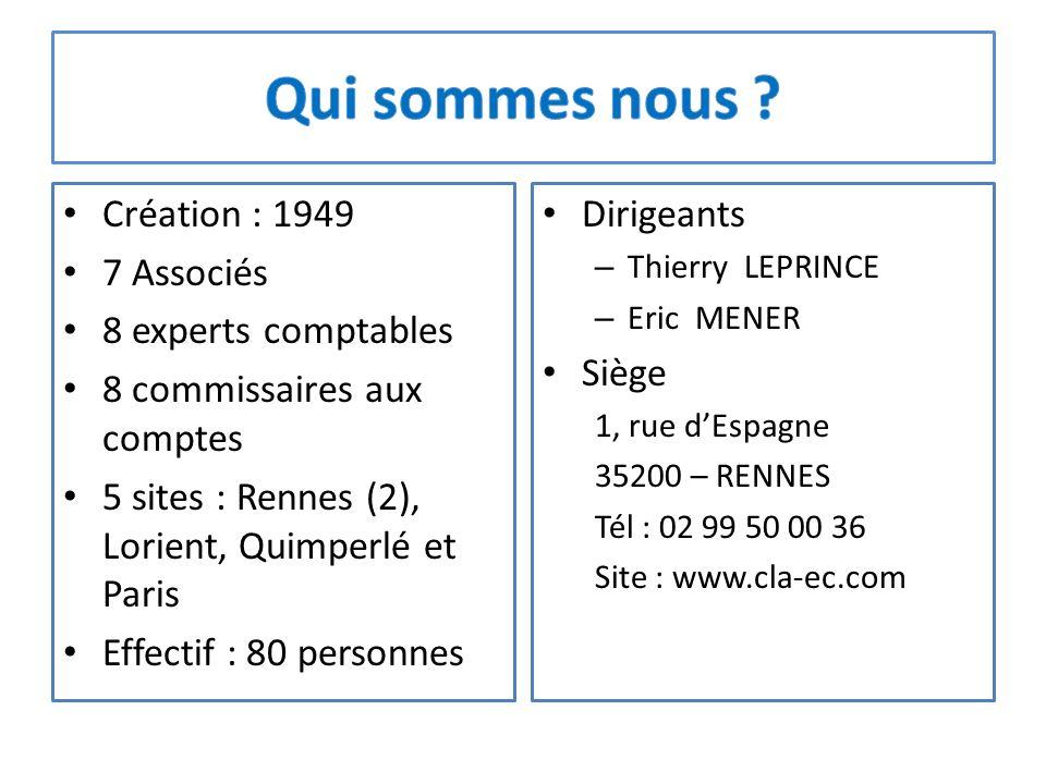 Création : 1949 7 Associés 8 experts comptables 8 commissaires aux comptes 5 sites : Rennes (2), Lorient, Quimperlé et Paris Effectif : 80 personnes D