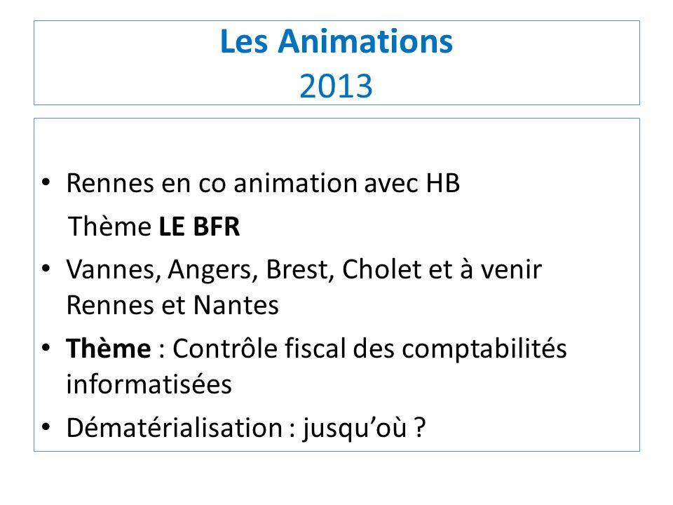 Les Animations 2013 Rennes en co animation avec HB Thème LE BFR Vannes, Angers, Brest, Cholet et à venir Rennes et Nantes Thème : Contrôle fiscal des