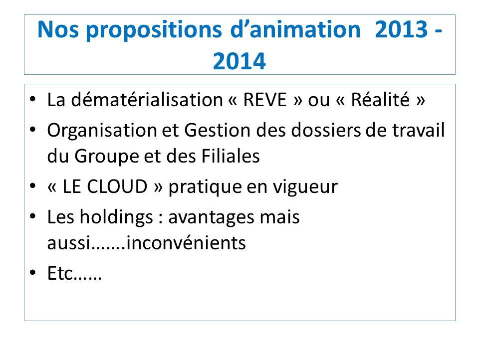 Nos propositions danimation 2013 - 2014 La dématérialisation « REVE » ou « Réalité » Organisation et Gestion des dossiers de travail du Groupe et des