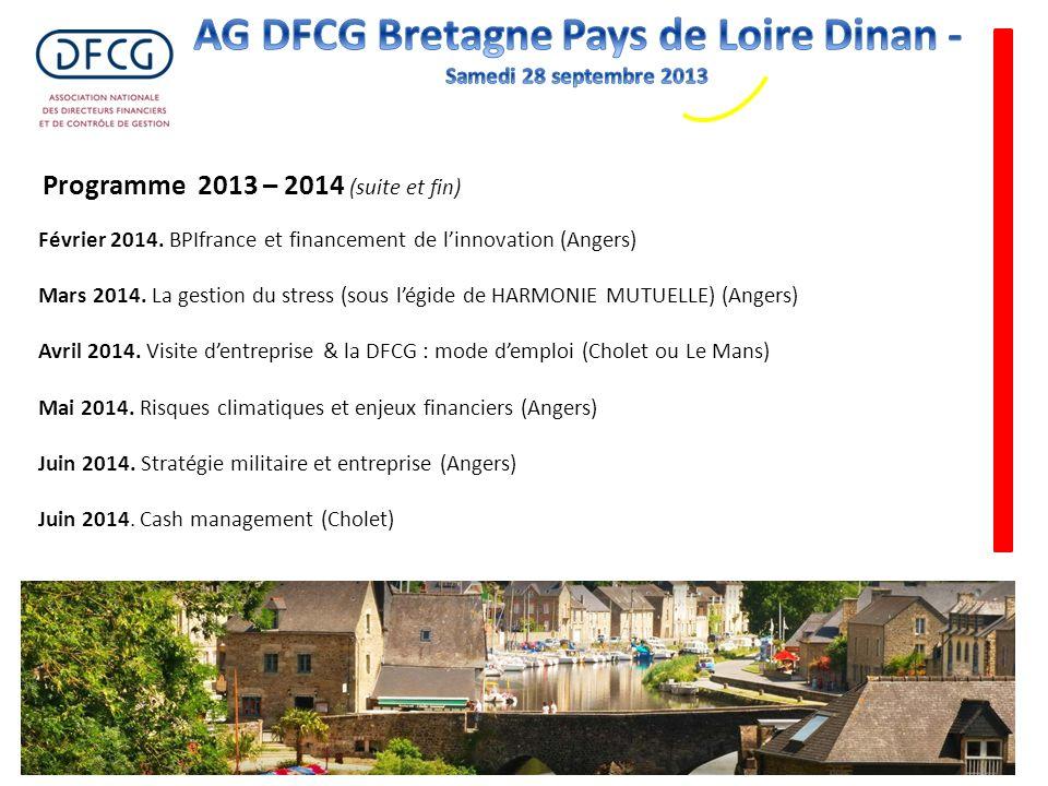 Février 2014. BPIfrance et financement de linnovation (Angers) Mars 2014. La gestion du stress (sous légide de HARMONIE MUTUELLE) (Angers) Avril 2014.