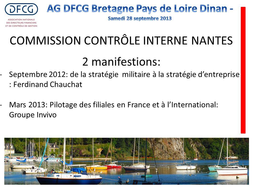 COMMISSION CONTRÔLE INTERNE NANTES 2 manifestions: -Septembre 2012: de la stratégie militaire à la stratégie dentreprise : Ferdinand Chauchat -Mars 20