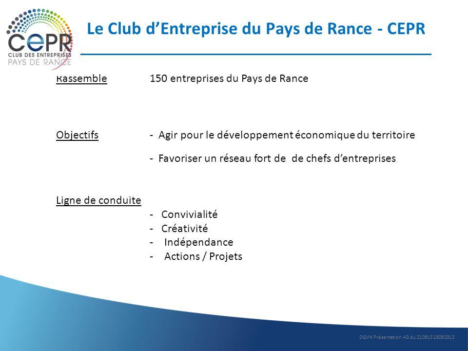 Le Club dEntreprise du Pays de Rance - CEPR Rassemble150 entreprises du Pays de Rance Objectifs- Agir pour le développement économique du territoire -