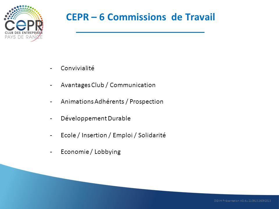 CEPR – 6 Commissions de Travail -Convivialité -Avantages Club / Communication -Animations Adhérents / Prospection -Développement Durable -Ecole / Inse