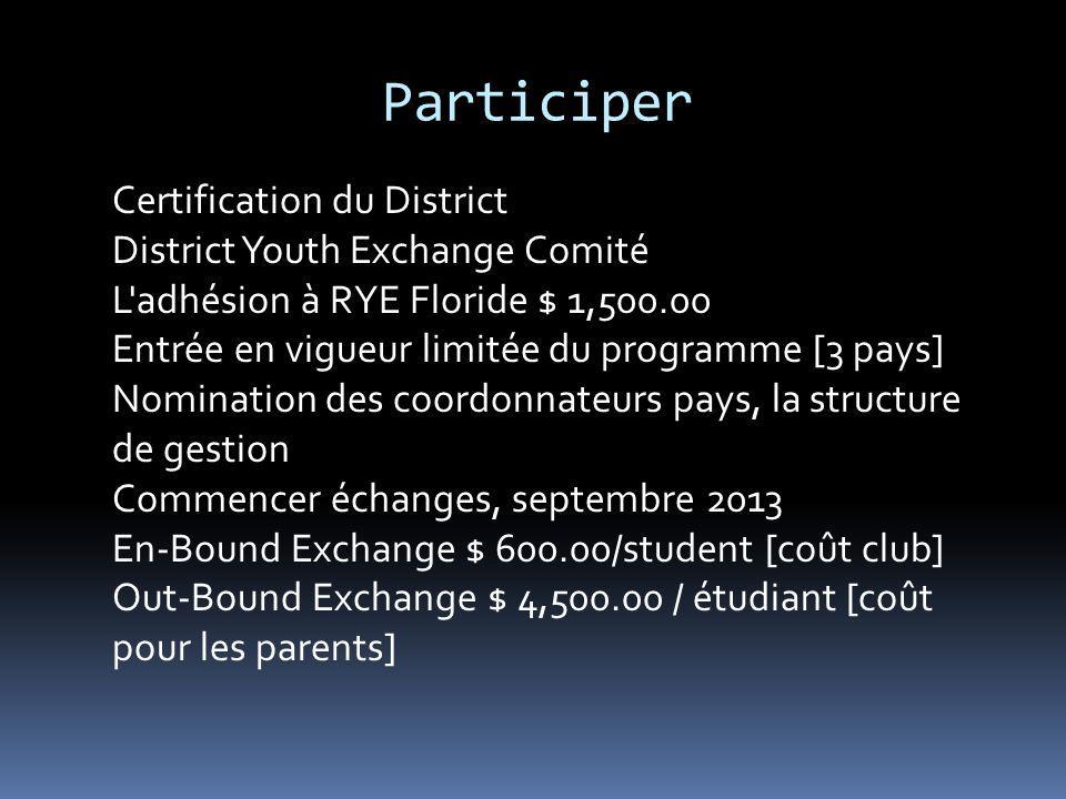 Participer Certification du District District Youth Exchange Comité L'adhésion à RYE Floride $ 1,500.00 Entrée en vigueur limitée du programme [3 pays