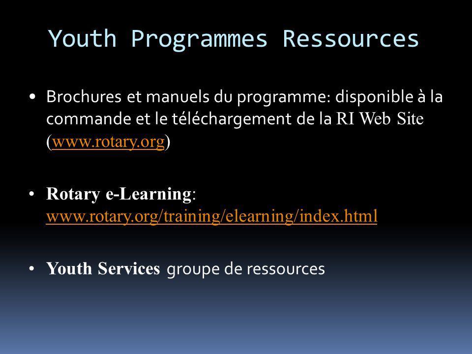 Youth Programmes Ressources Brochures et manuels du programme: disponible à la commande et le téléchargement de la RI Web Site (www.rotary.org)www.rot
