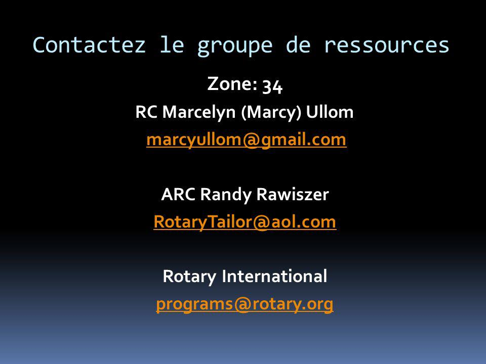 Contactez le groupe de ressources Zone: 34 RC Marcelyn (Marcy) Ullom marcyullom@gmail.com ARC Randy Rawiszer RotaryTailor@aol.com Rotary International programs@rotary.org