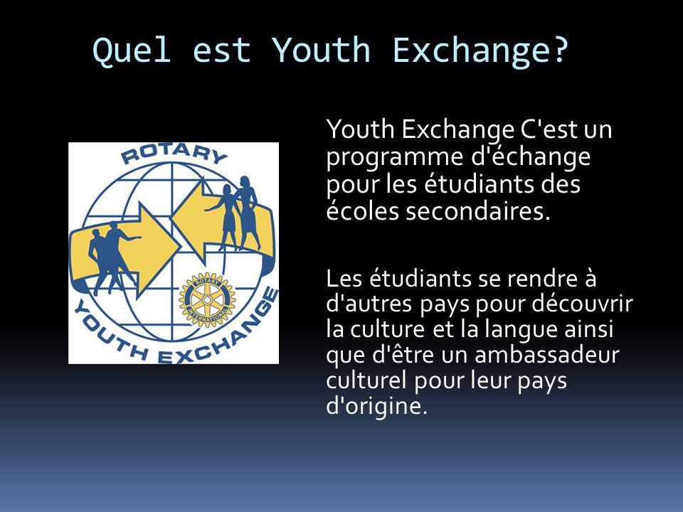 Quel est Youth Exchange? Youth Exchange C'est un programme d'échange pour les étudiants des écoles secondaires. Les étudiants se rendre à d'autres pay