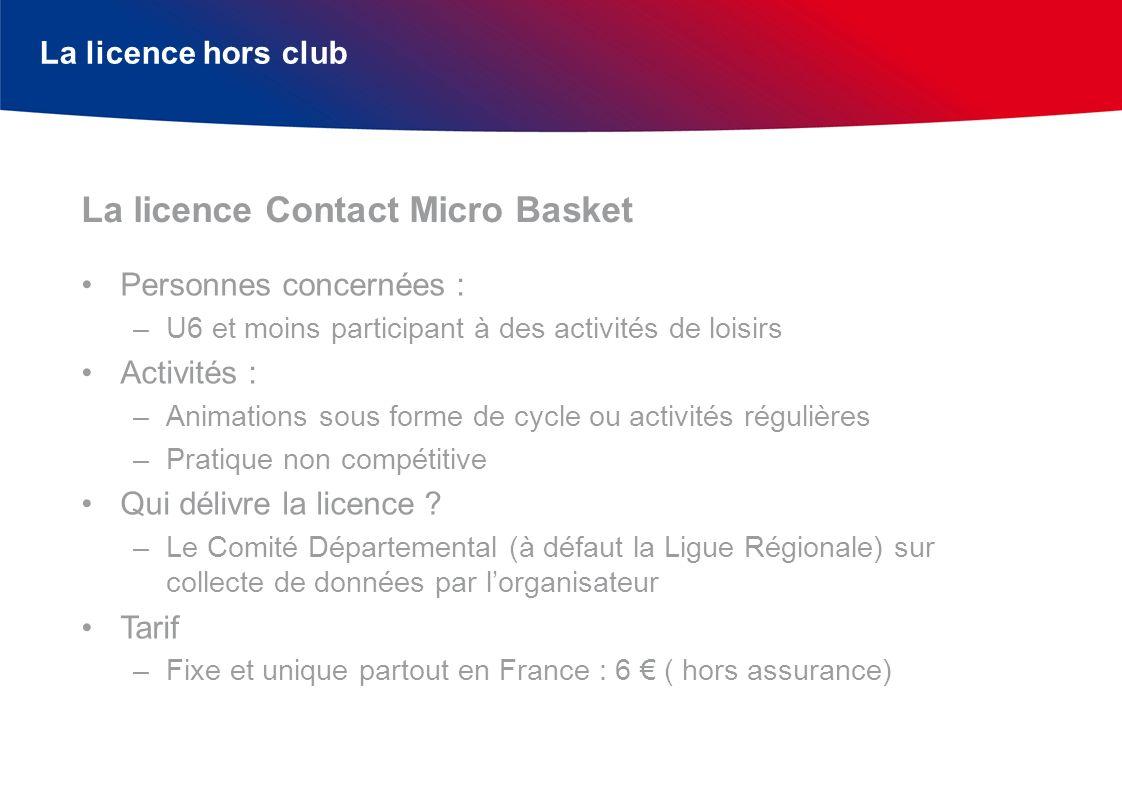 La licence hors club Personnes concernées : –U6 et moins participant à des activités de loisirs Activités : –Animations sous forme de cycle ou activit