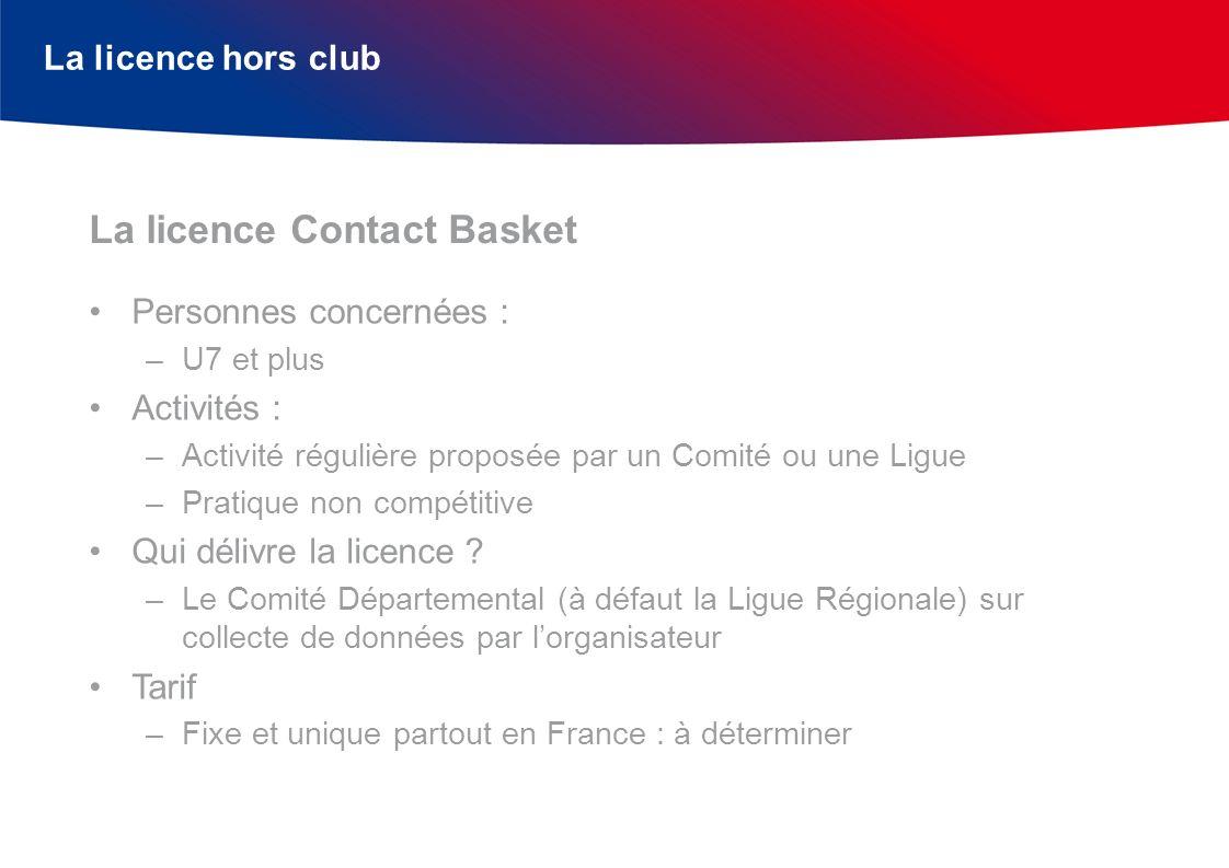 La licence hors club Personnes concernées : –U7 et plus Activités : –Activité régulière proposée par un Comité ou une Ligue –Pratique non compétitive