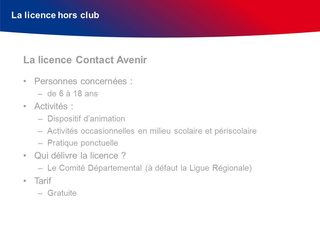La licence hors club Personnes concernées : –de 6 à 18 ans Activités : –Dispositif danimation –Activités occasionnelles en milieu scolaire et périscol