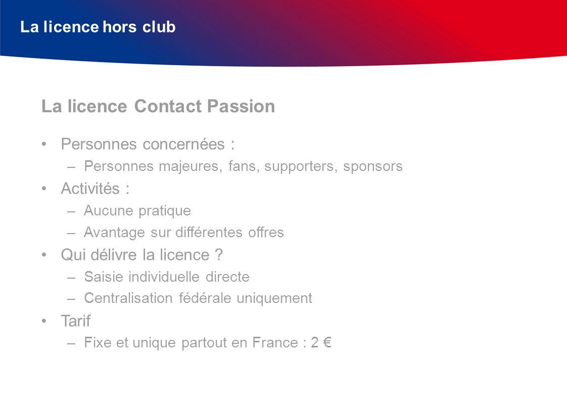 La licence hors club Personnes concernées : –Personnes majeures, fans, supporters, sponsors Activités : –Aucune pratique –Avantage sur différentes off