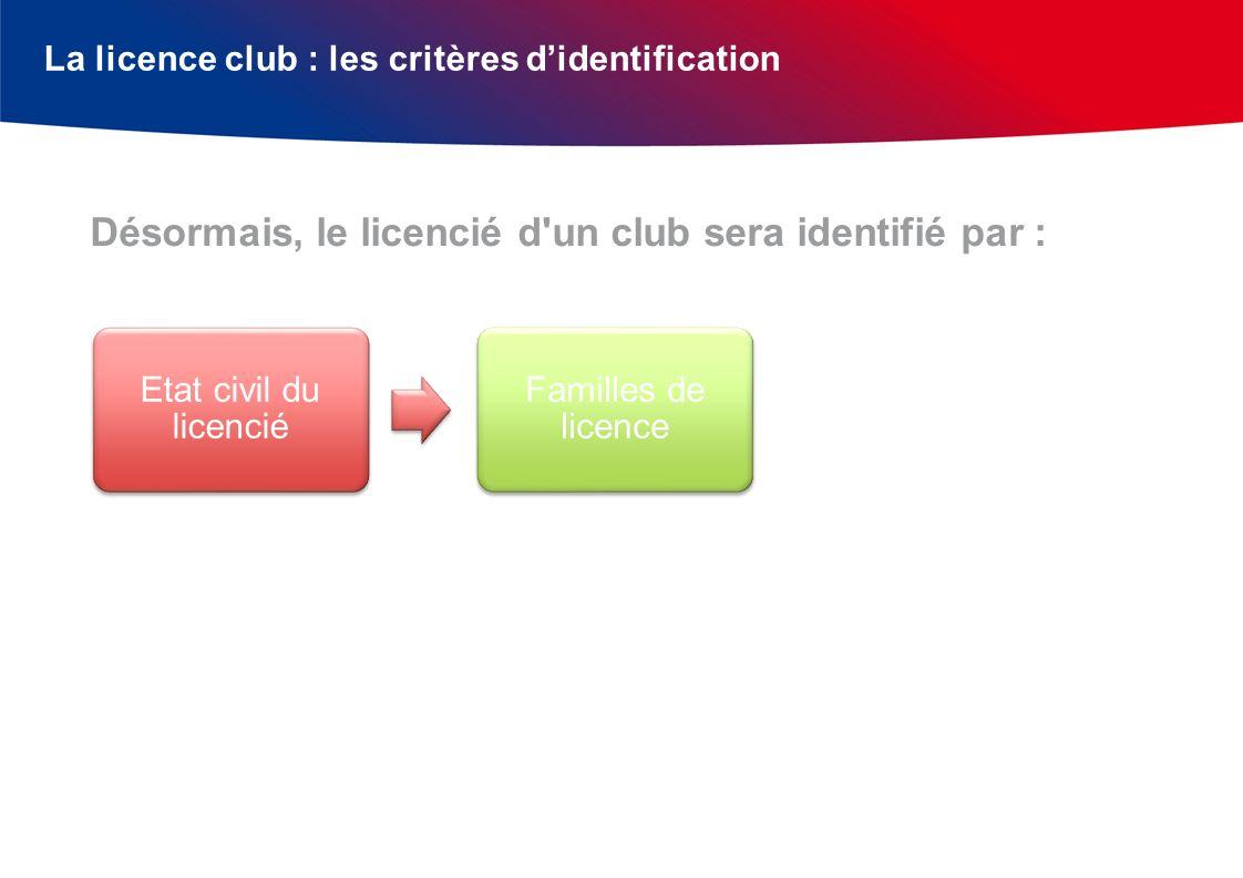 La licence club : les critères didentification Désormais, le licencié d'un club sera identifié par : Etat civil du licencié Familles de licence Catégo