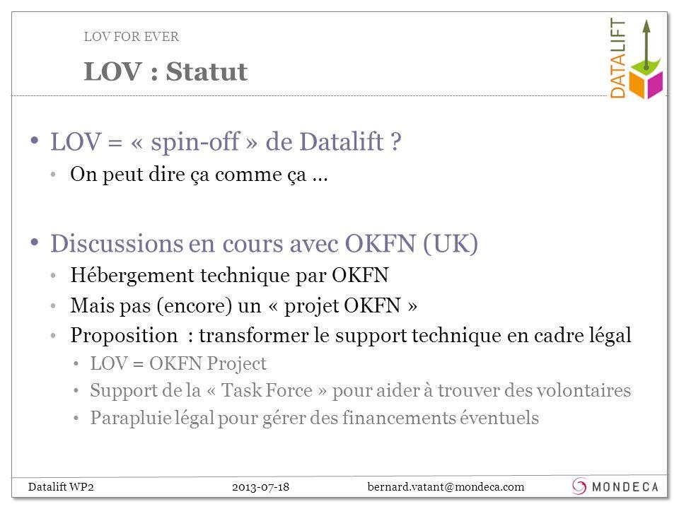 Datalift WP2 2013-07-18 bernard.vatant@mondeca.com LOV = « spin-off » de Datalift .