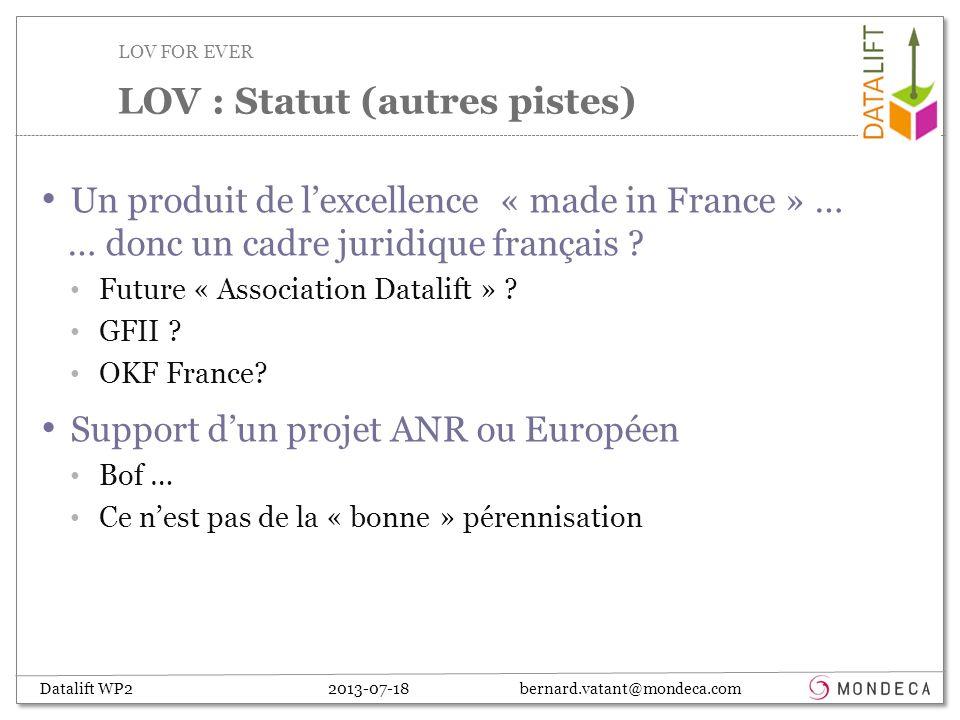 Datalift WP2 2013-07-18 bernard.vatant@mondeca.com Un produit de lexcellence « made in France » … … donc un cadre juridique français .