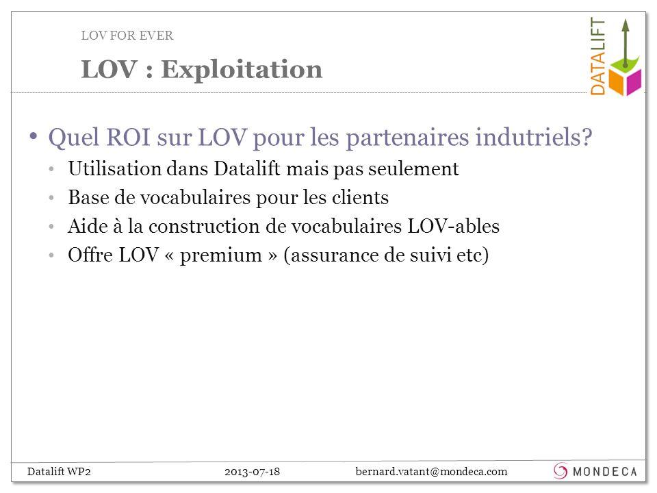 Datalift WP2 2013-07-18 bernard.vatant@mondeca.com Quel ROI sur LOV pour les partenaires indutriels.