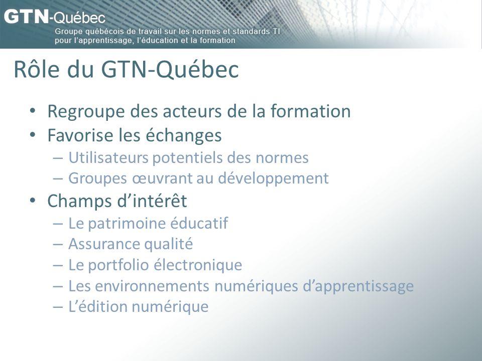 Rôle du GTN-Québec Regroupe des acteurs de la formation Favorise les échanges – Utilisateurs potentiels des normes – Groupes œuvrant au développement