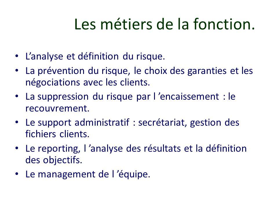Les métiers de la fonction. Lanalyse et définition du risque. La prévention du risque, le choix des garanties et les négociations avec les clients. La