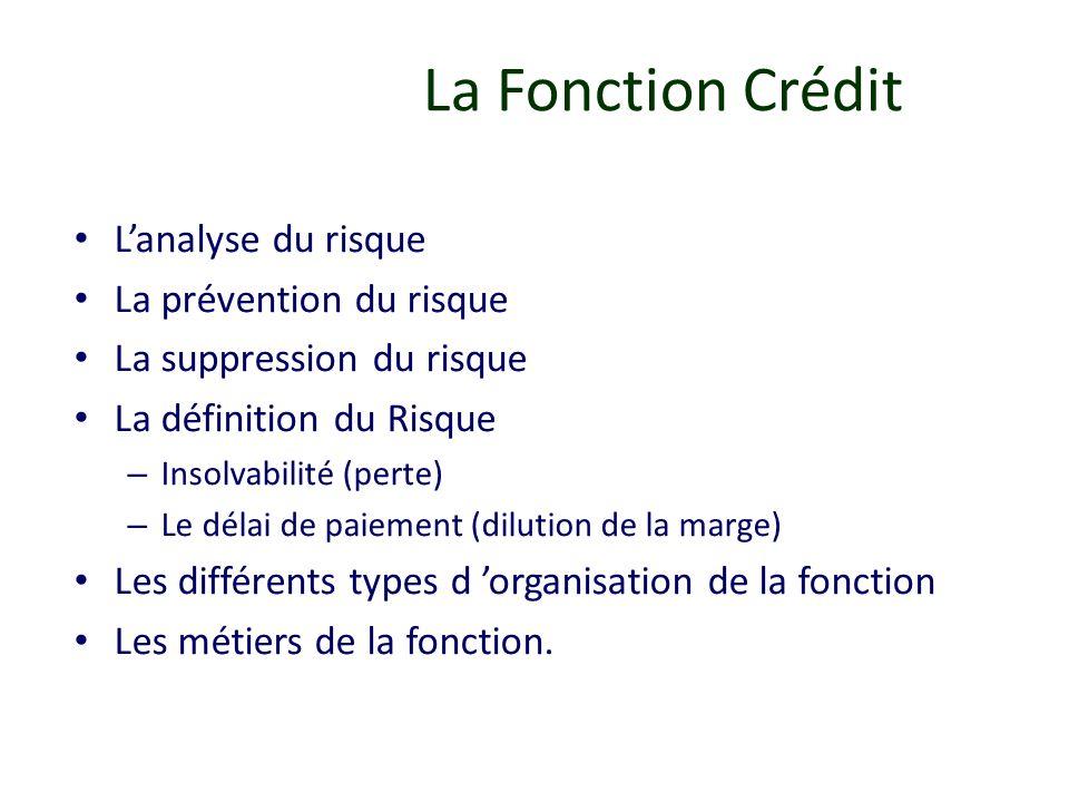 La Fonction Crédit Lanalyse du risque La prévention du risque La suppression du risque La définition du Risque – Insolvabilité (perte) – Le délai de p